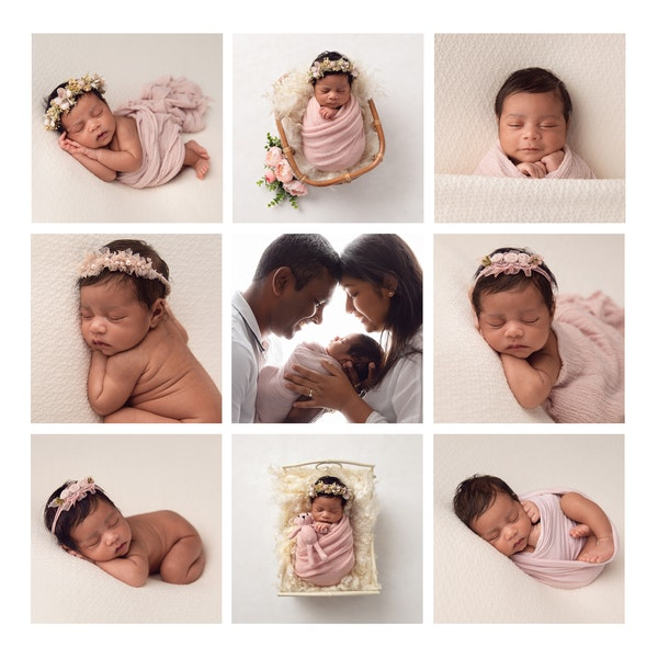 gallery of 9 images from a newborn baby girls session, pink and cream theme