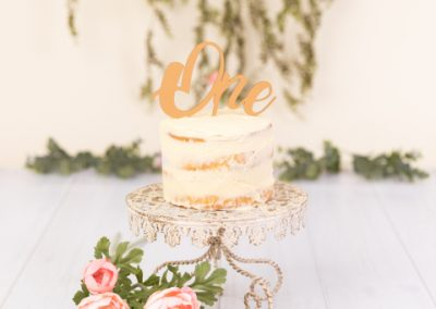Rustic themed cake smash, naked cream cake on a vintage cream cake stand with flowers and hanging green vine in the background