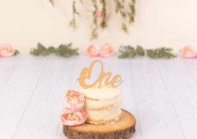Rustic themed cake smash, naked cream cake on a rustic log slice with flowers and hanging green vine in the background