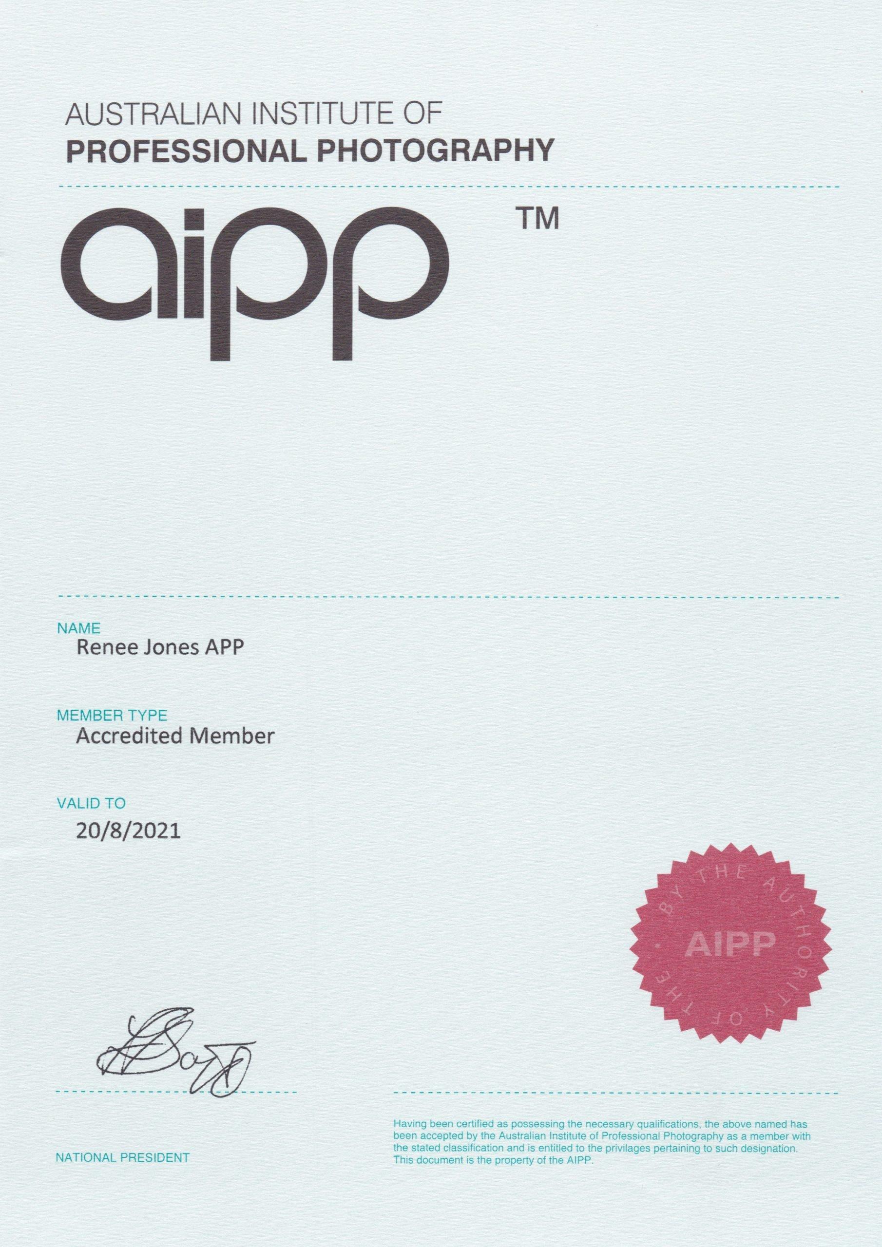 Australian Institute of Professional Photographers AIPP Accredited Professional Photographer certificate of Renee Jones