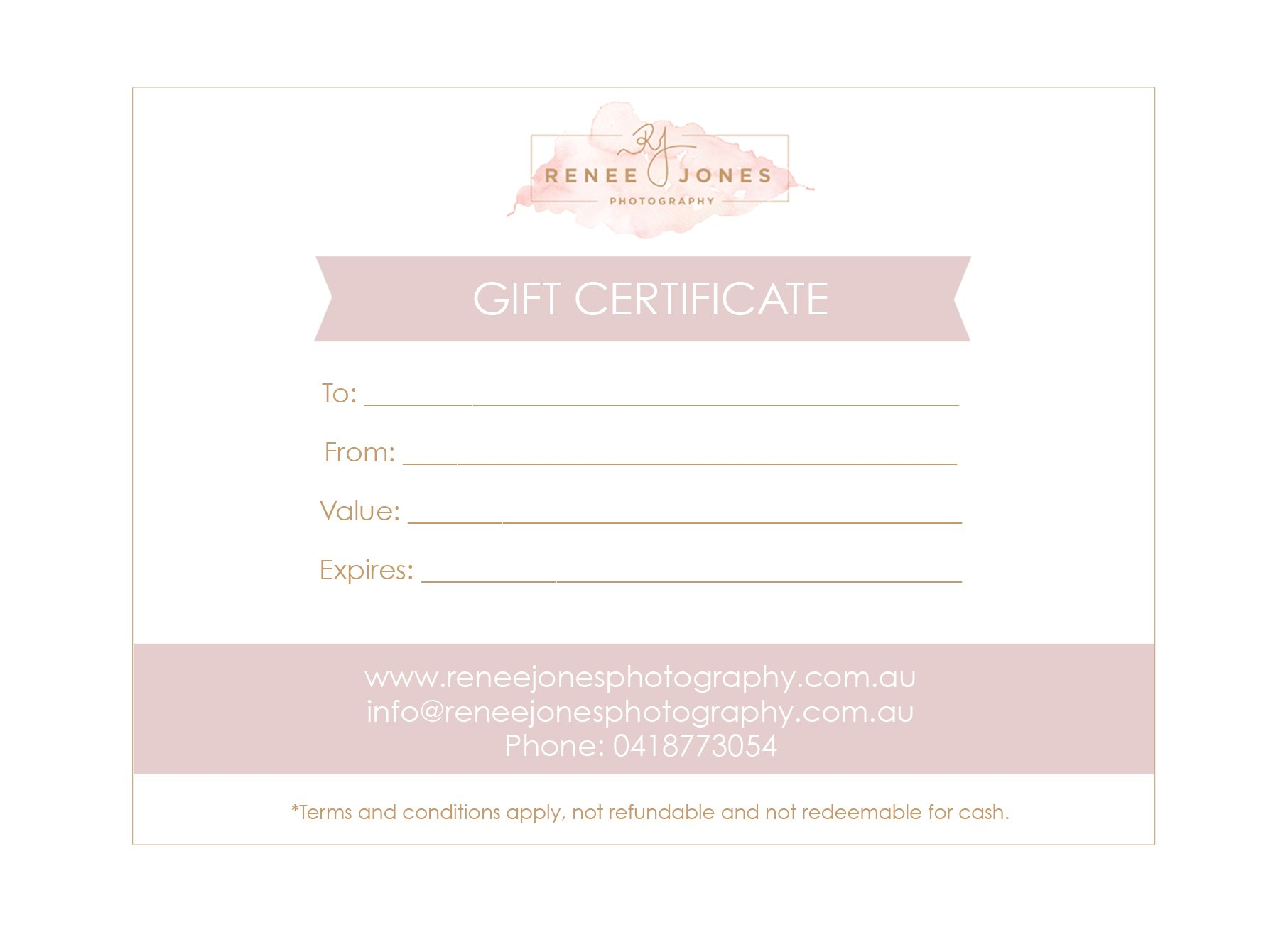 Sample photography gift certificate